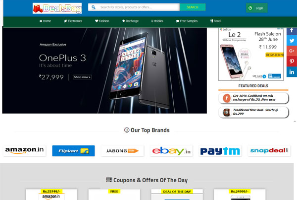 Coupon website in Blogger