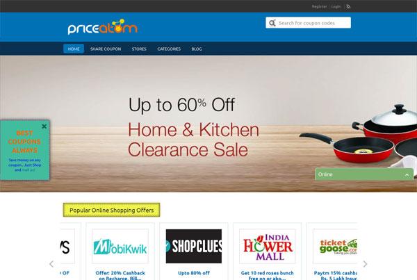 Indian coupons website – Priceatom